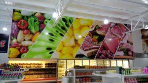 Vinil area de frutas y carnes