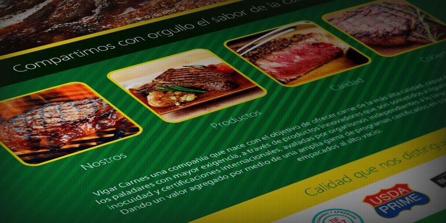 Diseño de página web de Vigar Carnes