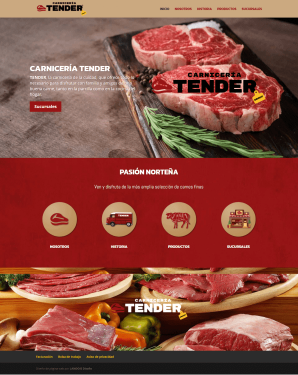 Página web responsiva TENDER, carnicerías
