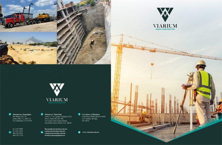 Diseño de díptico para constructora Viarium 1
