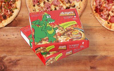 Diseño de empaque tipo caja para pizza Dragos