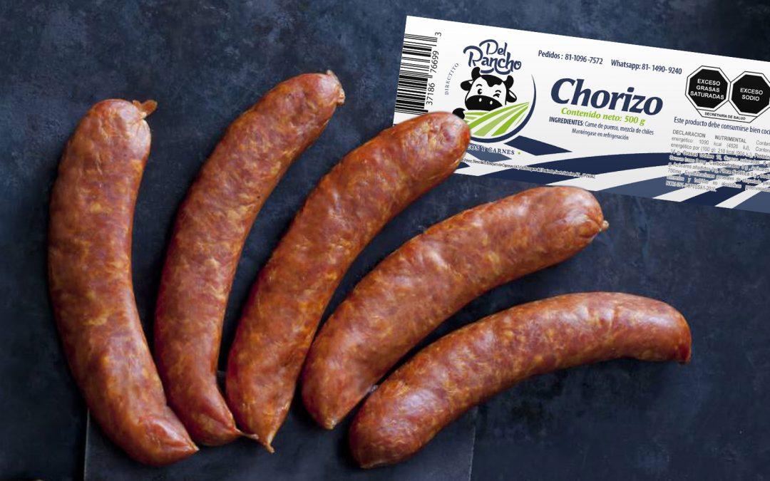 Diseño de etiqueta adhesiva para chorizo directito del rancho