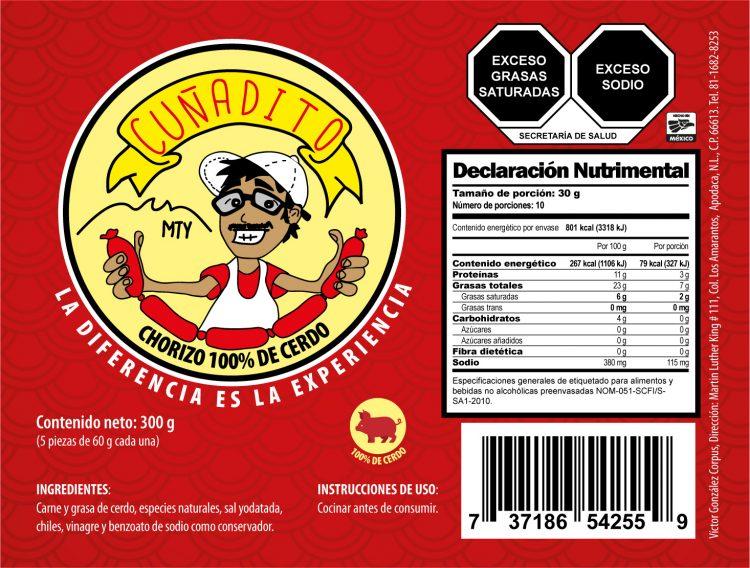 Diseño de etiqueta adhesiva para chorizo Cuñadito 1