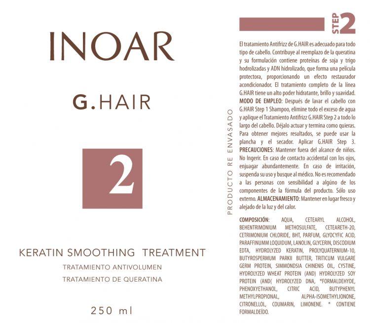 Diseño de etiqueta adhesiva para tratamiento del cabello INOAR 1