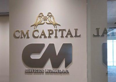 letrero trovicel aluminio cepillado CM Capital
