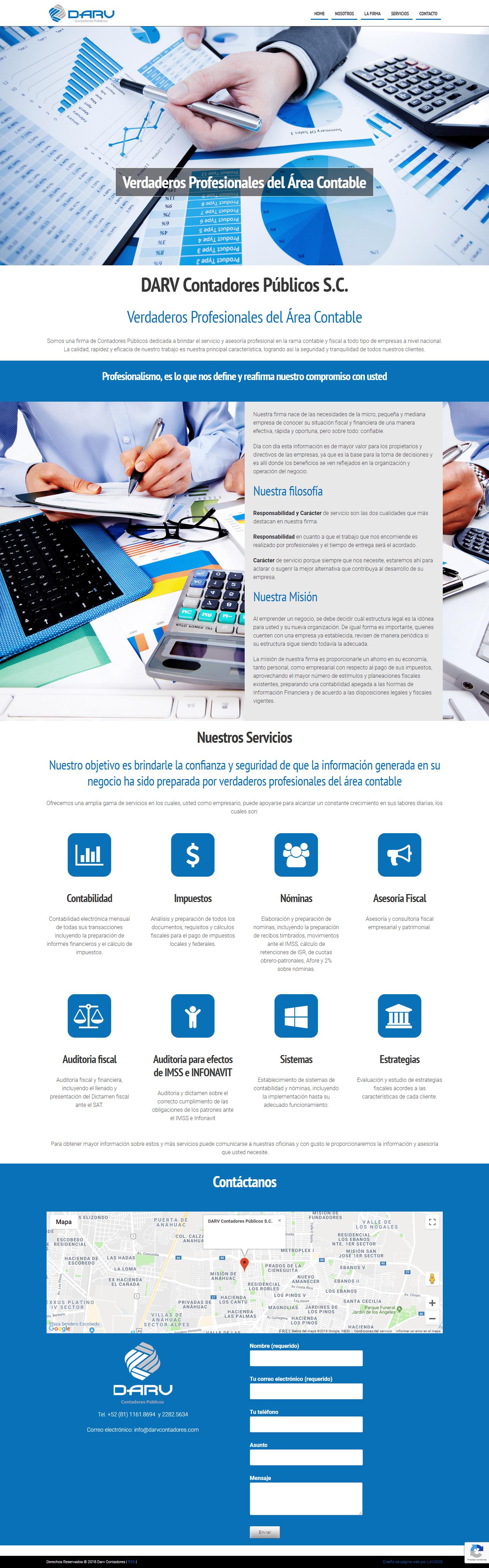 Página web de DARV Contadores